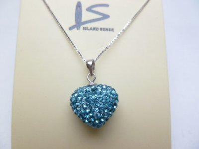 Light Blue Heart Shaped Crystal Pendant w/ 925 Silver Box Chain