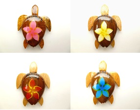 2' Wood Turtle magnet with 4 assort color painted flower,wording