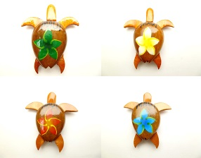 "2"" Wood Turtle magnet with 4 assort color painted flower w/ Maui"