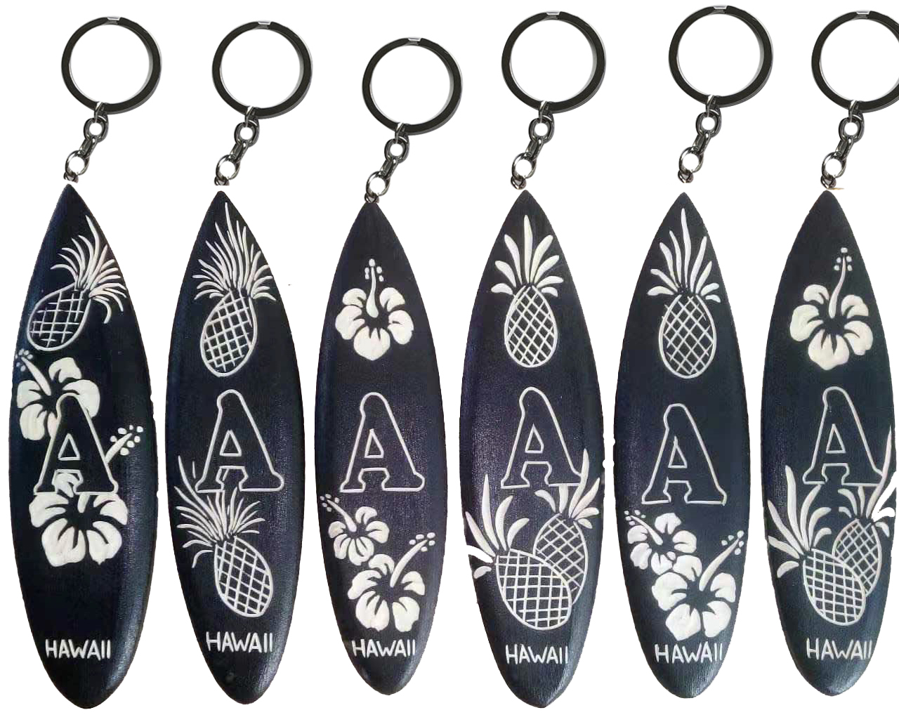 """A"", Assorted 12cm Wood Craved Surfboard Keychain"