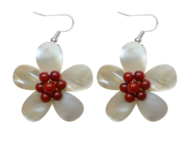 30mm White MOP Flower Shell with Coral Earrings - Click Image to Close