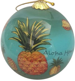 Hand Painted Hawaii Pineapple Christmas Ornament