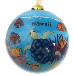 Hand Painted Hawaii Sea Life Turtle Dolphin Christmas Ornament