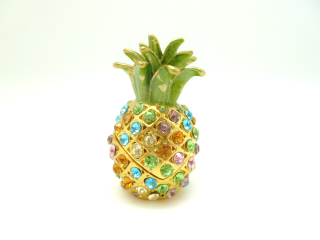 2' Multi-color Crystal Pineapple jewelry box - Click Image to Close