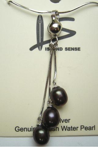 Genuine Triple Black Fresh Water Pearl w/ 925 Silver Snake Chain