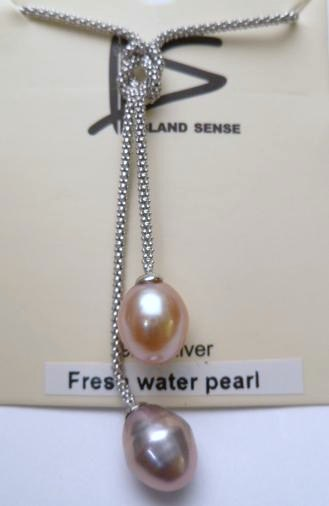 Double Peach & Lavender Fresh Water Pearl on 925 Silver Chain