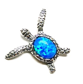925 Silver Sea Turtle w/ Blue Opal Pendant 21x17mm