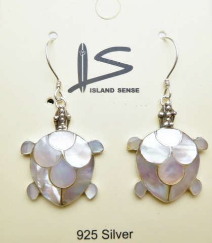 925-Silver 18X20mm White MOP Shell Turtle Dangle Earring - Click Image to Close