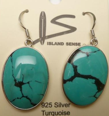Oval Turquoise with 925 Silver Earring Hook