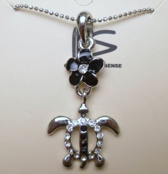 "Black Hawaii Turtle w/ CZ Pendant with 18KGP 18"" Ball Chain"