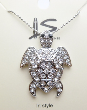 White Crystal Turtle Pendant with Ball Chain 18""